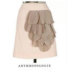 Anthropologie Floreat Ruffle Petal Pale Pink Skirt